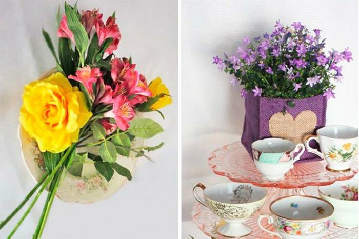 schöne tischdeko aus blumen in bunten farben oder nur aus lila, kaffeetradition