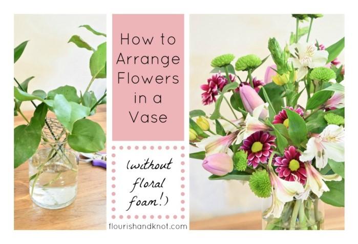 Blumen Tischdeko Selber Gestalten, Schöne Idee In Rosa Mit Gartenblumen In  Vase, Diy Ideen