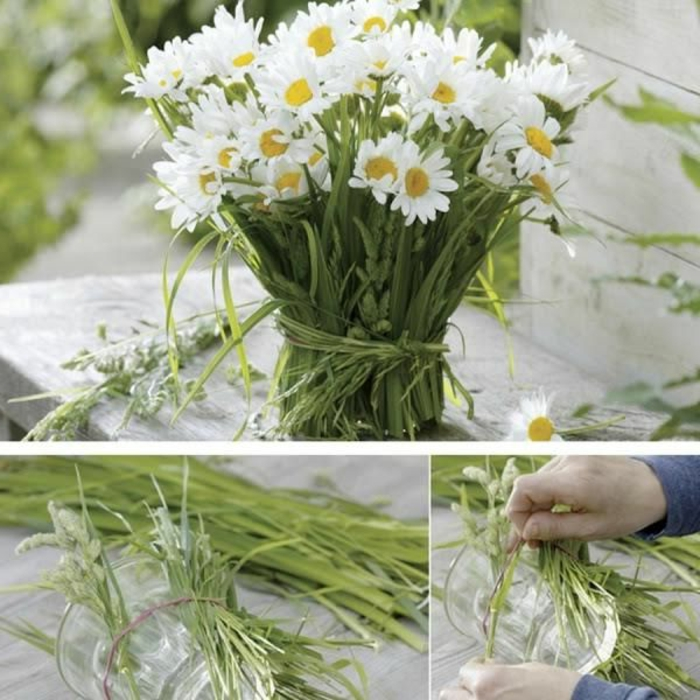 schöne tischdeko aus gänseblüten, gänseblume, margariten, weiß und grün deko ideen