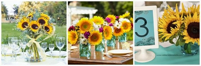 sonnenblumen in unterschiedlichen gestaltungen als tischdeko blumen verwenden, gelbe blumendeko