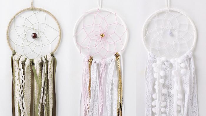 traumfönger basteln kinder, drei verschiedenen designs, lange streifen spitze, wanddekorationen