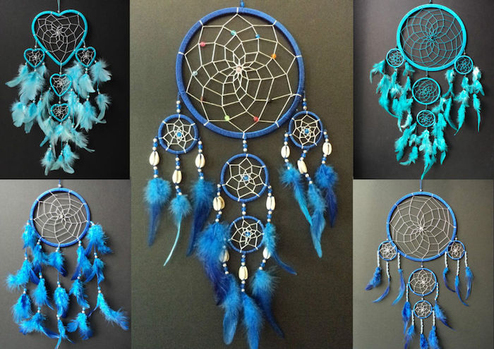 traumfänger bastelset, blaue traumfänger in verschiedenen designs, indianischer schmuck