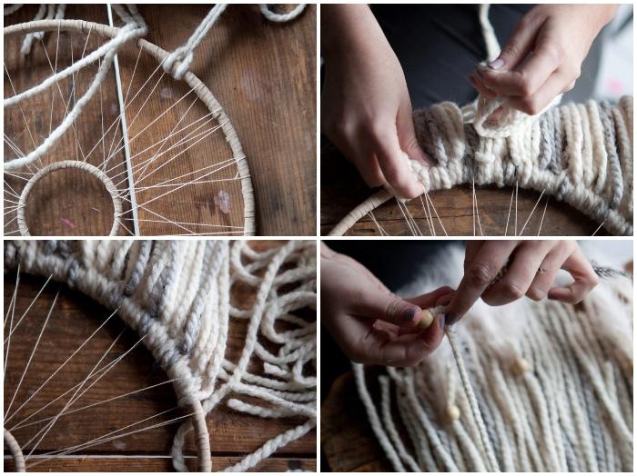 traumfänger bastelset, lange streifen garn am holzring binden, indianischer schmuck selber machen