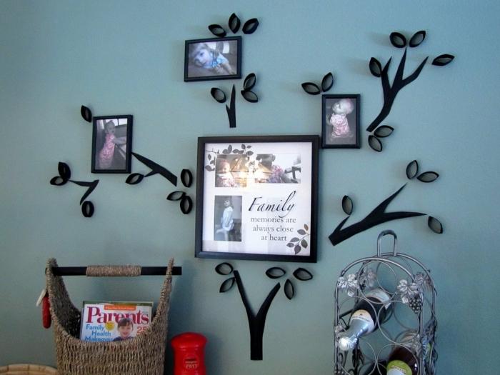 ein Stambaum mit Familienfotos, Deko Flur, Klopapierrollen basteln mit Kindern