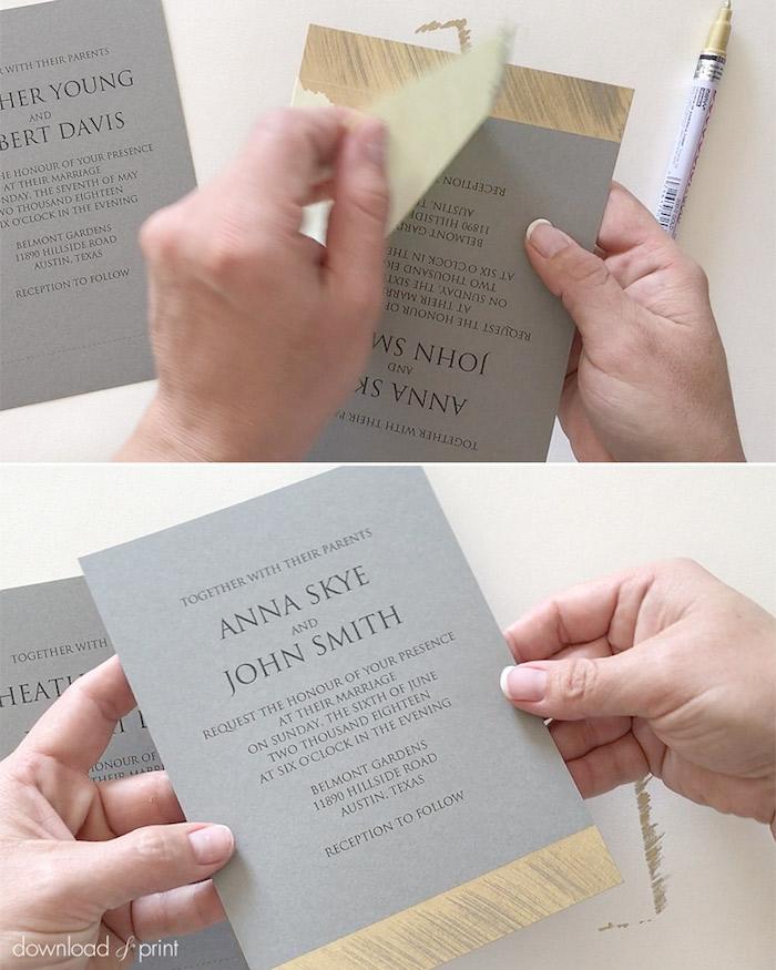 vintge karten für hochzeit, graues papier, goldener marker, hochzeitskarten dekorieren
