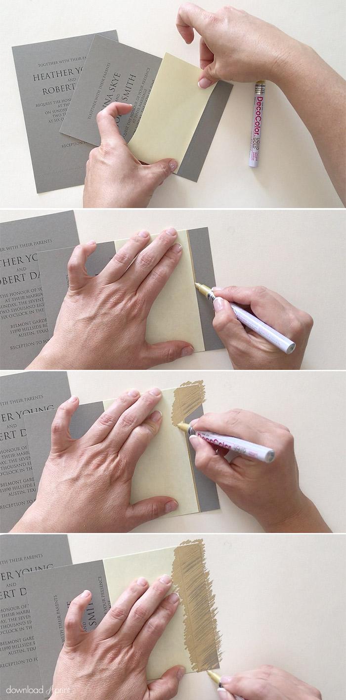 vintage karten selber machen, graues papier mit goldenem marker dekorieren, diy
