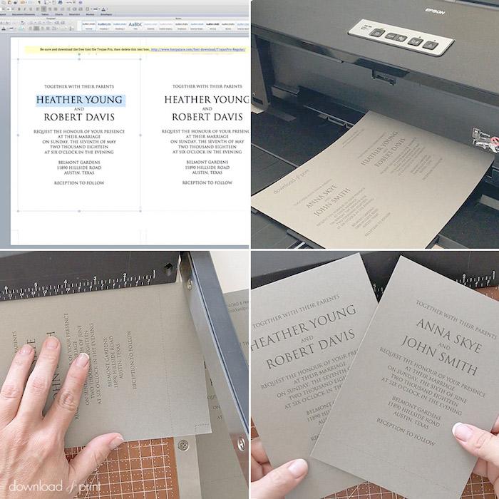 vintage karten selbst gestalten, einladunen drucken, printer, graues papier