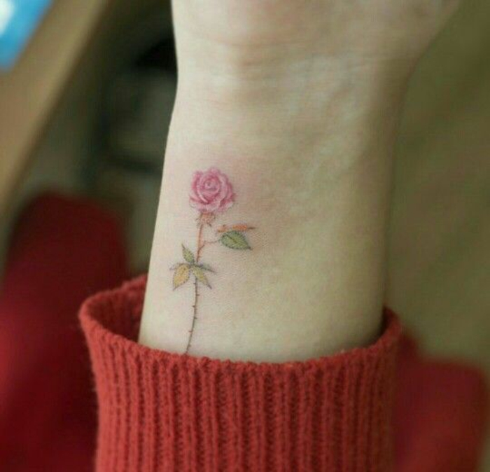 blumen und ihre bedeutung, dezente rosa am arm oder hand, rote pulli, idee