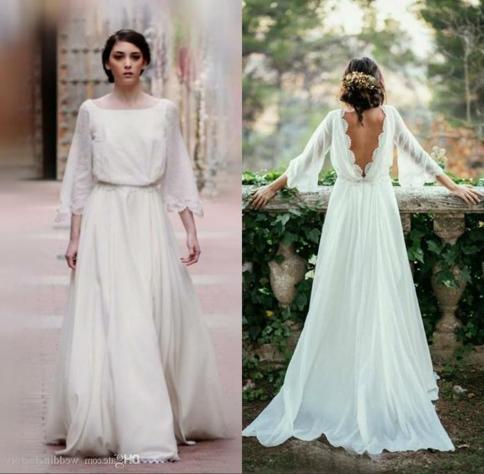 zwei Fotos von Modellen der Brautkleider, vorn und hintern, vintage Brautkleider