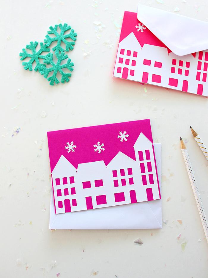 Weihnachtskarten selber machen, DIY Ideen für Kinder, Schablonen kleben