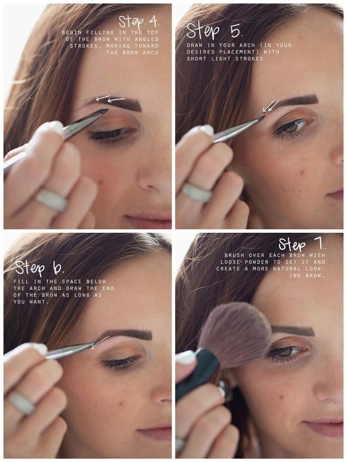 wie schminkt man richtig, frau mit braunen haaren, perfekte augenbrauen formen
