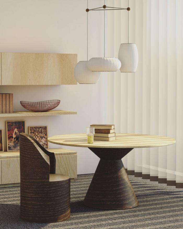 Was passt zu Grau, Holzfarbe, weiße Lampenschirme, ein Esszimmer
