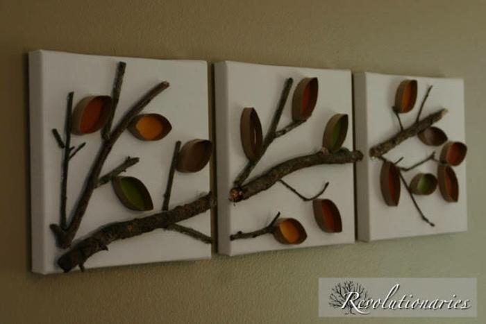 drei Rahmen mit Zweigen und Blätter aus Klorollen, Bastelideen mit Klorollen