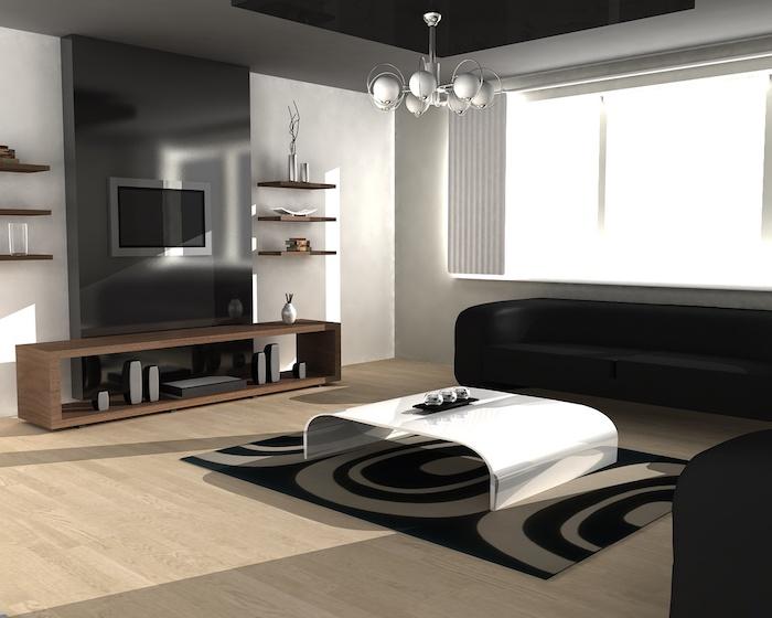 wohnzimmer ideen, boden aus holz, parkett, designer möbel in schwarz und weiß, silberner kronleuchter