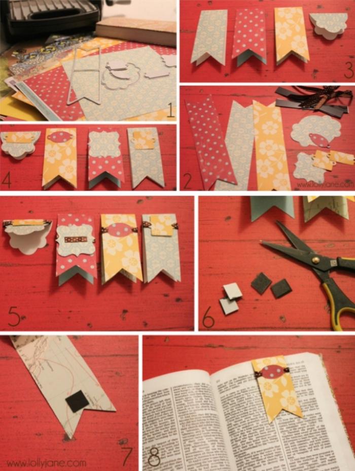 ein Collage aus acht Schritten, wie Sie ausgezeichnete Lesezeichen selbst gestalten