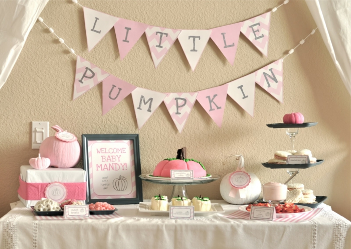 Babyparty Deko für Mädchen, ein Koselname Kürbis, rosa Torte wie Kürbis