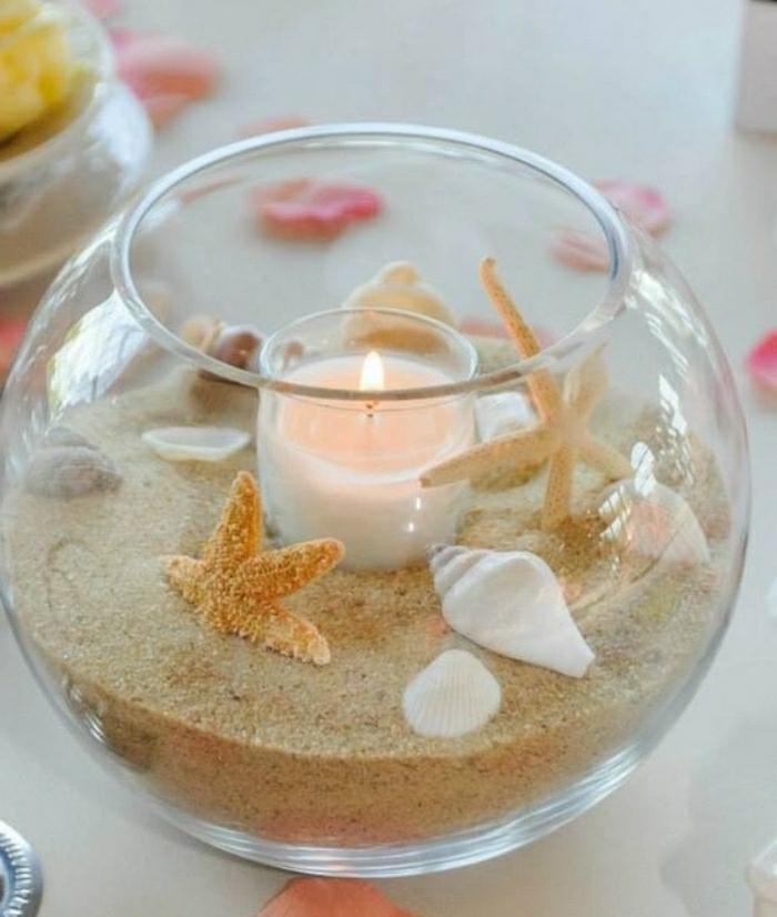 diy ideen zum sleber machn, kerze in einer schüssel mit sand, muscheln und sterne meeresstern, meeresdeko