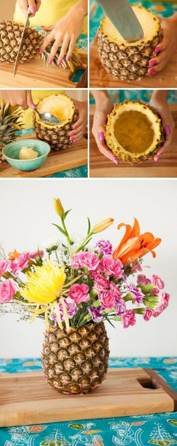 basteln für kinder, ideen wie man aus ananas eine blumenvase macht, bunte blumen