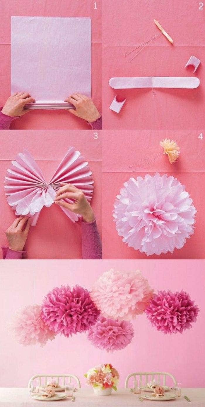 basteln für kinder, pinke deko ideen aus papier blumen und dekorationen selber machen, deko ideen