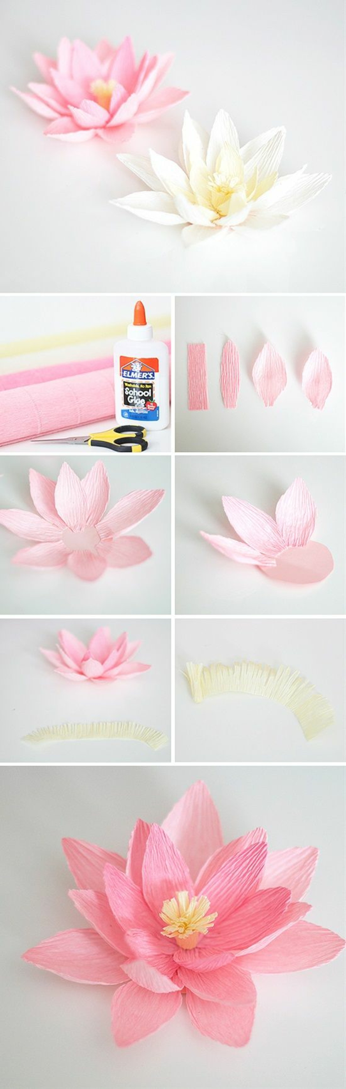 basteln für kinder, wasserlilien aus papier und kleber gestalten pink und weiß