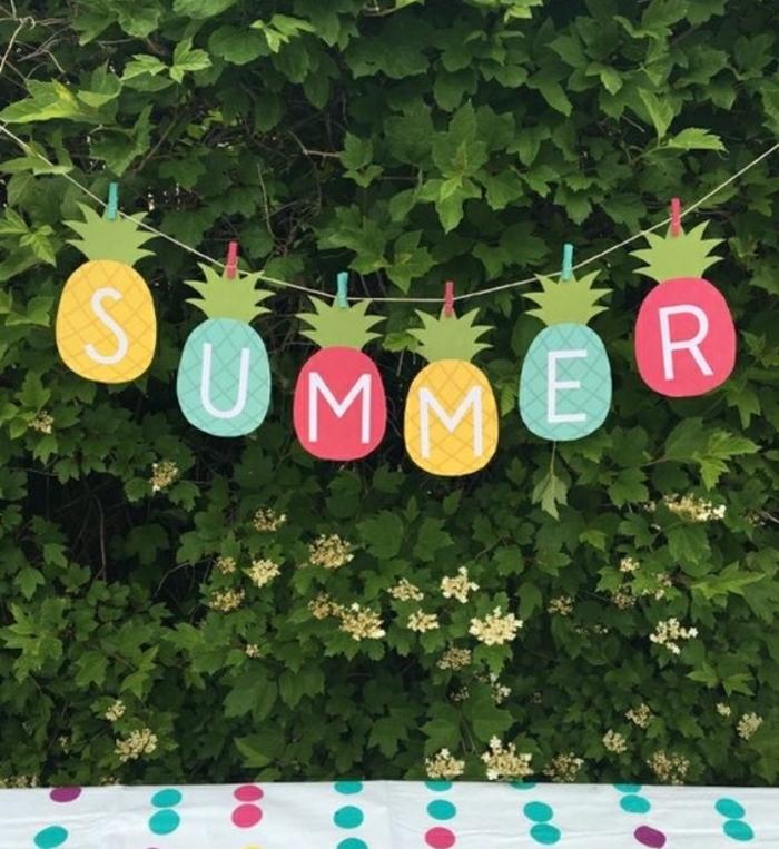 bastelideen mit kindern sommer deko für den garten in form von ananas aus papier machen