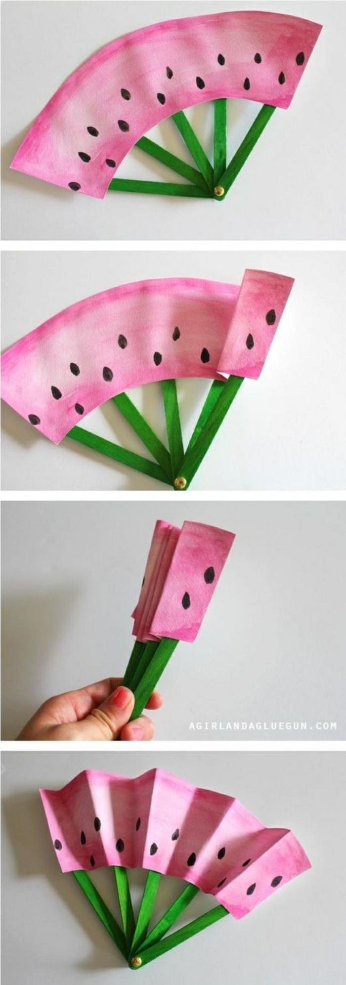 basteln mit kindern sommer ideen zum nachmachen, eine erfrischung in form von wassermelone, basteln mit papier