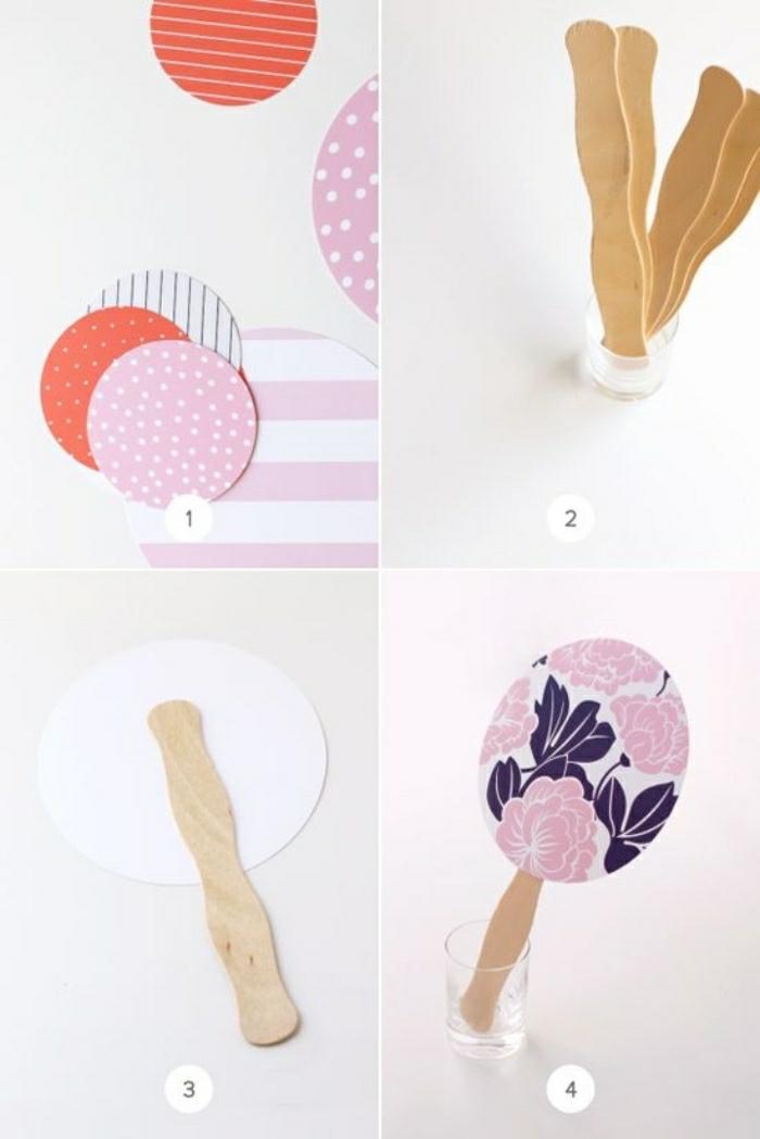basteln mit kindern sommer deko ideen aus holz und stoff, deko muster, bunte gestaltung