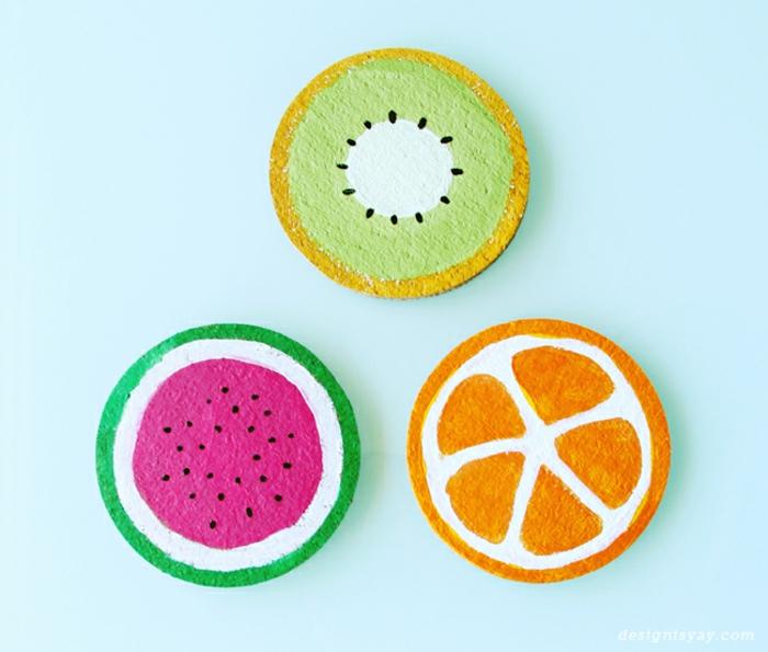 diy bastelideen für den sommer für die ganze familie, lustige ideen mit fruchten, fruchten aus stoff