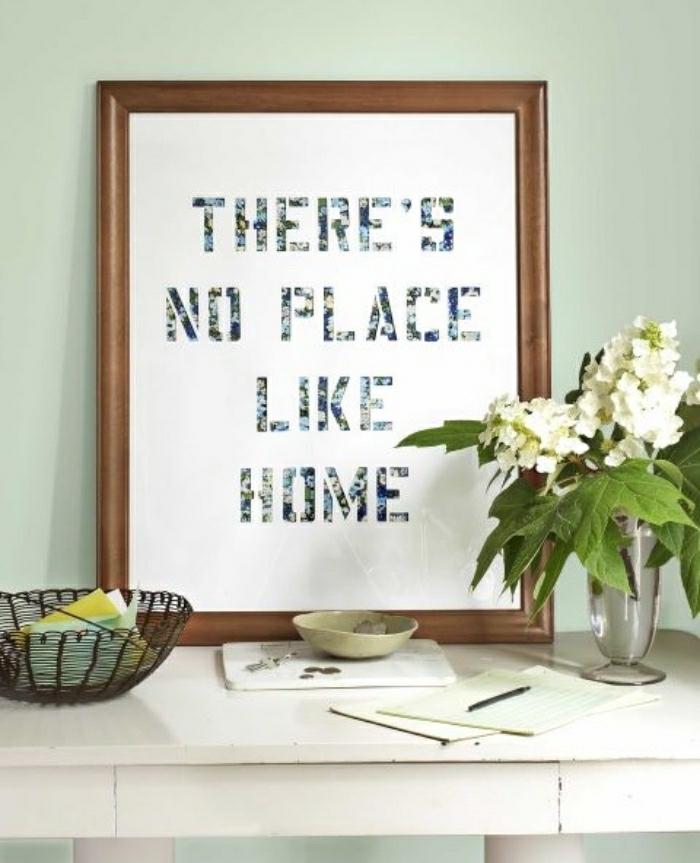 coole bastelideen, rahmen, schwarz auf weiß, blumen in einer vase, weiße blumen, grüne deko