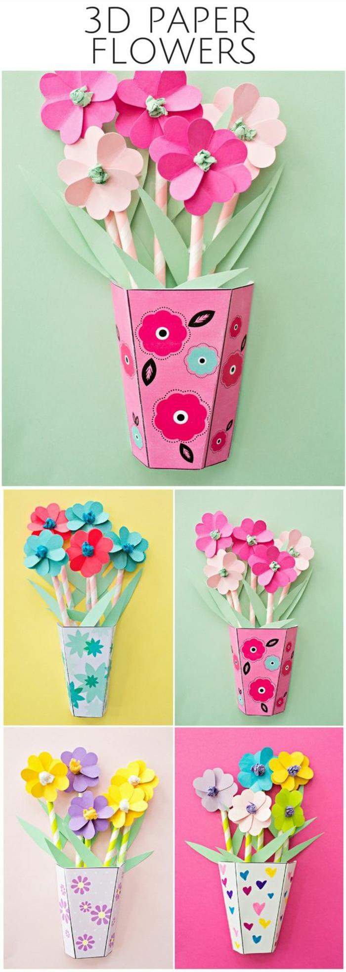 einfache bastelideen zum nachmachen, deko mit papierblumen, blumen aus papier machen, kindergarten basteln