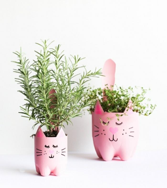 basteltipps für jugendlichen und erwachsene, blumentöpfe aus plastik in rosaroter farbe, rosmarin anpflanzen, katzenmiene