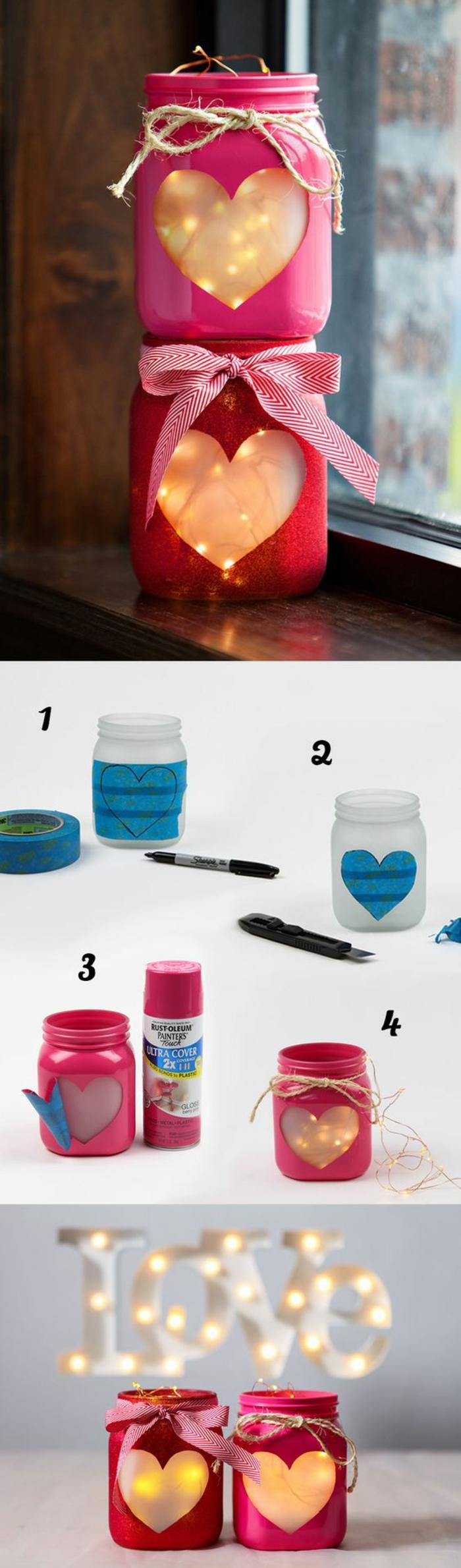 einfache bastelideen, deko ideen, kerzen dekorieren, einmachglas in form von herz gestalten