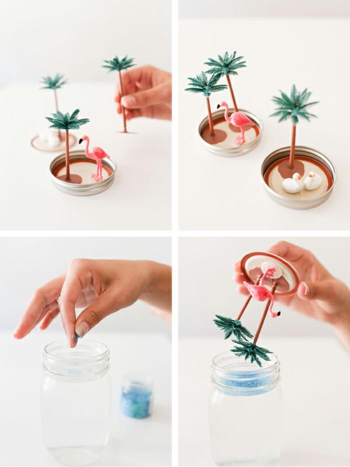 basteln mit kindern, zusammen flamingos und palmen in ein glas stellen und dekoration machen