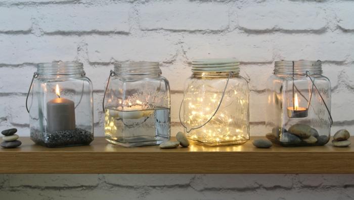 gläser als lichtdeko gestalten, bastelideen sommer, deko zum nachmachen, gläser, einmachglas, kerzen, leuchte