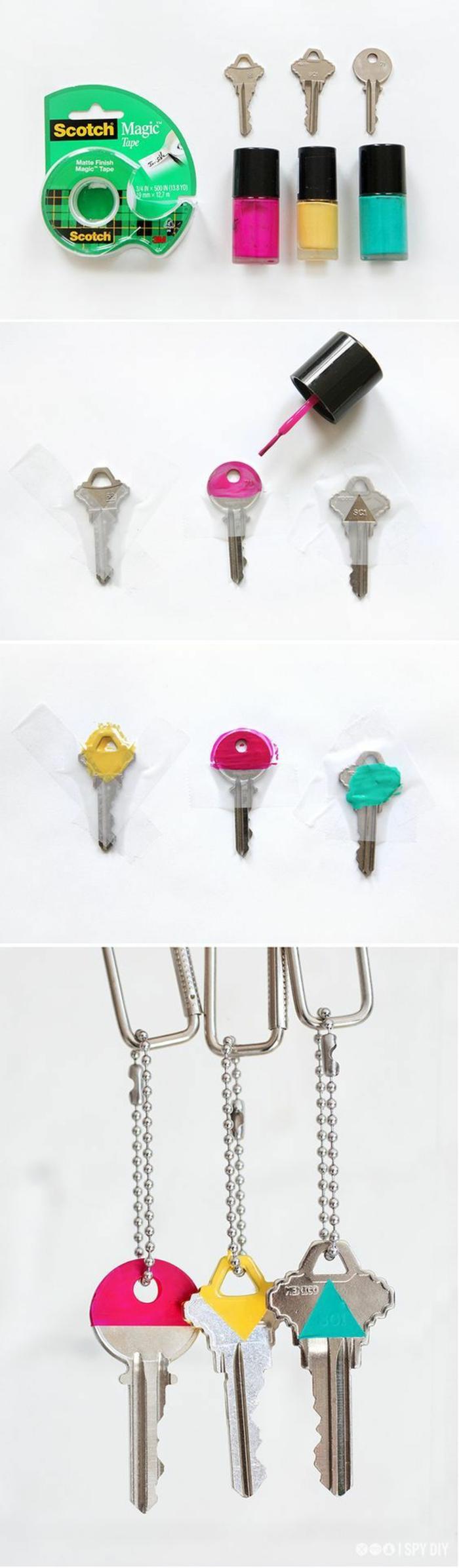 bastelideen mit schlüsseln, deko farben, lack nagellack zum dekorieren von den schlüsseln, kreativ und easy zum finden, wenn sie sehr viele schlüssel haben