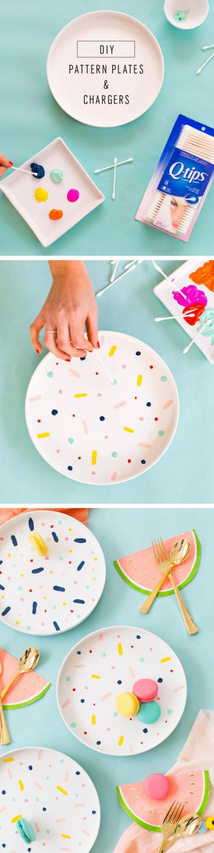 mit kindern basteln, deko idee für einen teller, bunte teller selber bemalen, deko farben