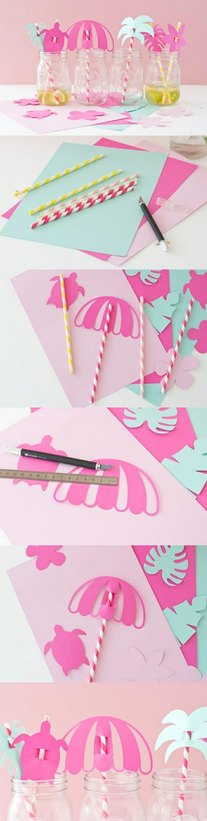 diy deko sommerliche ideen zum nachmachen, pinke deko für cocktails, sonnenschirme aus papier