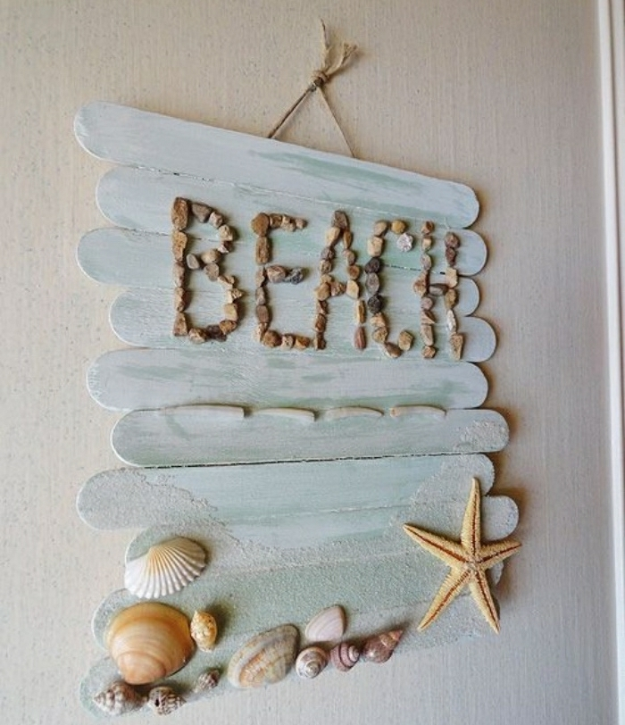 diy deko ideen für das zuhause, beach aufschrift als schild an der tür, ideen meeresambiente