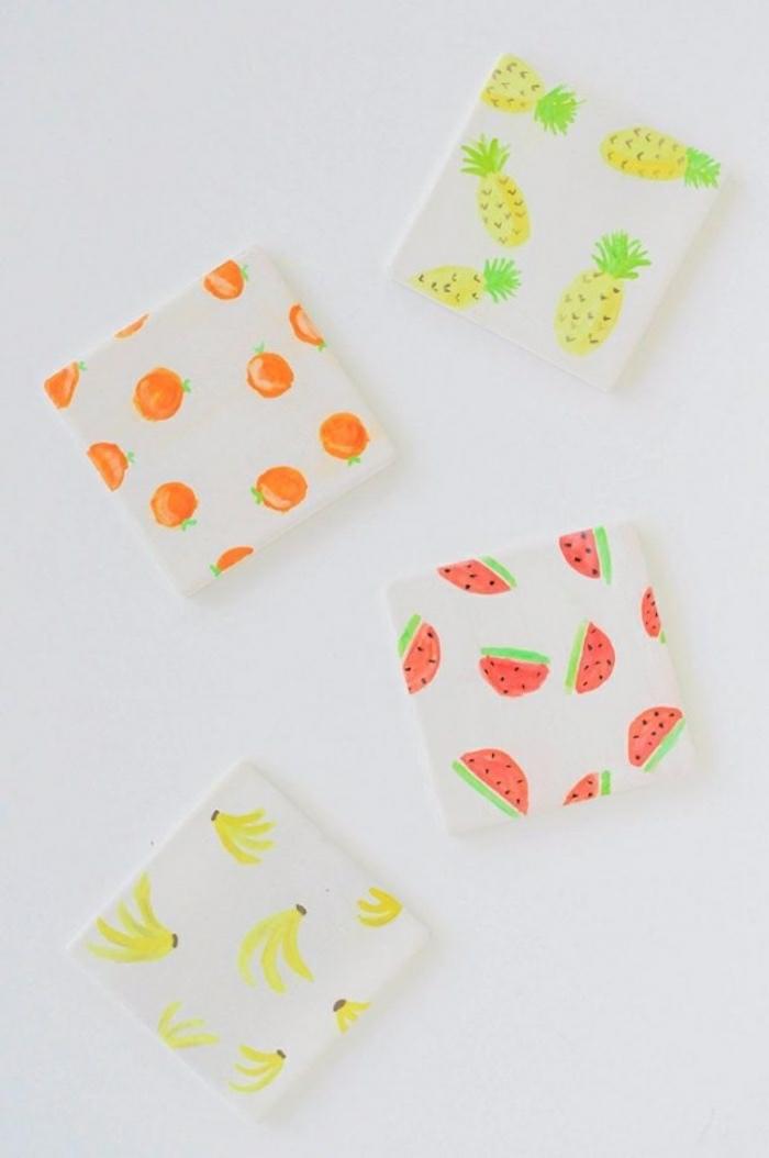 basteln mit kleinkindern, idee, deko sticker auf karten, früchte, wassrmelonen, bananen, ananas, orangen