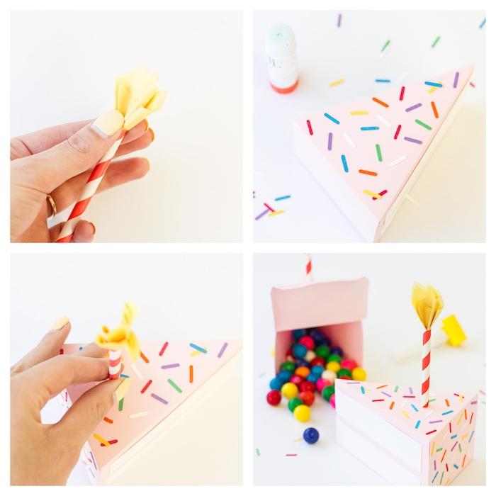 Coole Idee für DIY Geburtstagsgeschenk, Schachtel in Form von Tortenstück mit Kerze