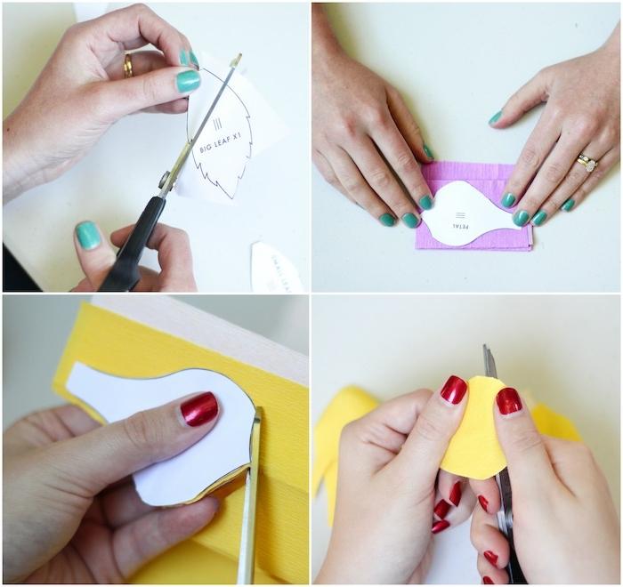 Blumen aus Krepppapier selber machen, Anleitung in vier Schritten, Basteln mit Papier