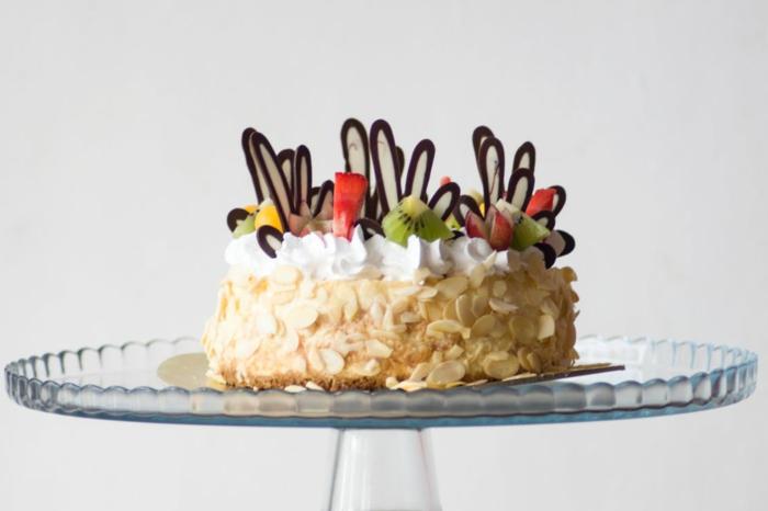 schnelle Torten Rezepte, Schokoladen Ornamente Dekoration, Kiwi und Apfel und Makadamia