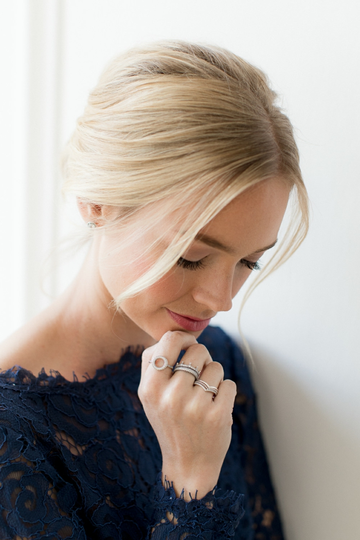simple hairstyles, blue dress, lots of rings, updo for bridesmaids