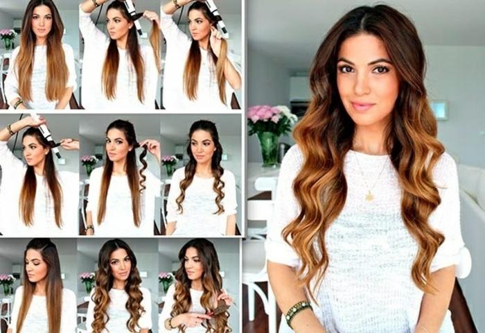 wie aus glatten Haaren, Locken zu machen, Balayage Haare, schöne Frisuren für lange Haare