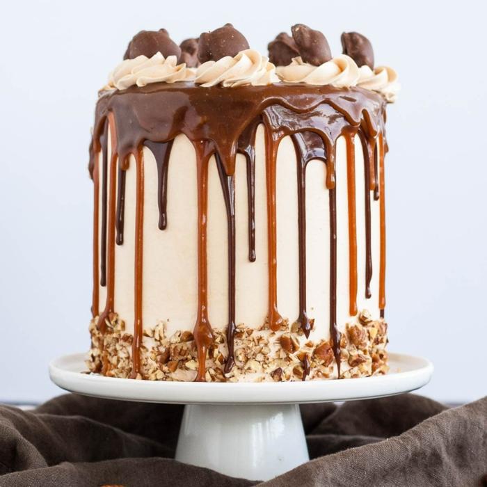 Toffifee Torte, schnelle Torten Rezepte, Karamel, Schokolade und Nuggat Creme