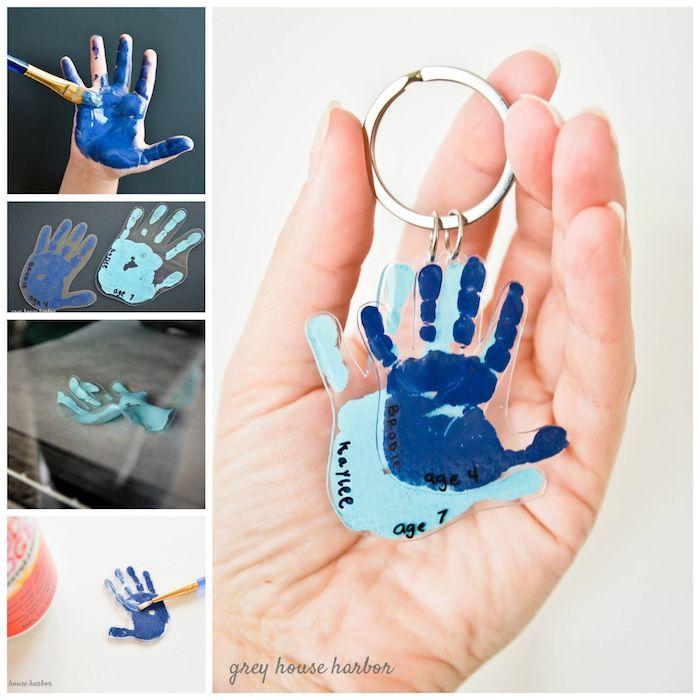 coole geburtstagsgeschenke zum selbermachen, basteln mit kindern, hände, blaue farbe, schlüsselanhänger