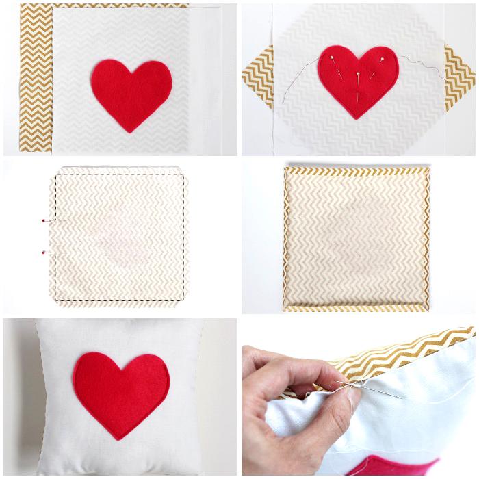 coole geburtstagsgeschenke, kissenbezug selber nähen, großer roter herz, stoff mit geometrischen elementen