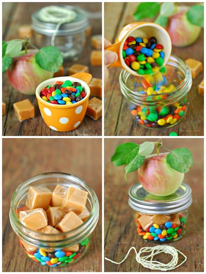 coole geburtstagsgeschenke, gelber schüssel mit weißen punkten, bonbons, gechenk in einmachglas, schnell und einfach
