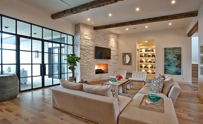 deko für wohnzimmer, 3d wand, steinwand, led beleuchtung, gepunktete dekokissen, grüne pflanze
