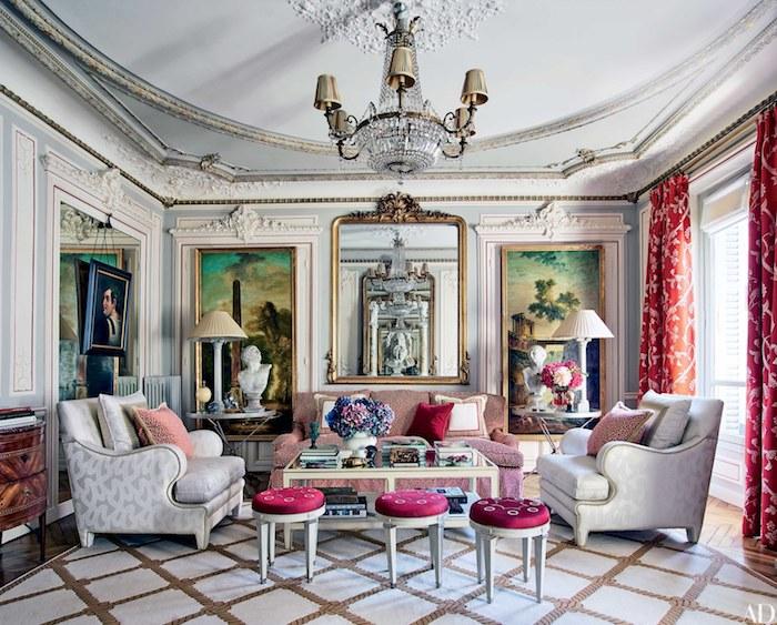 deko für wohnzimmer, einrichtung im retro stil, designer möbel, rosa farbaktzente, zwei große bilder als wanddeko